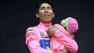 Nairo Quintana, hace tres a�os en el podio final del Giro con...