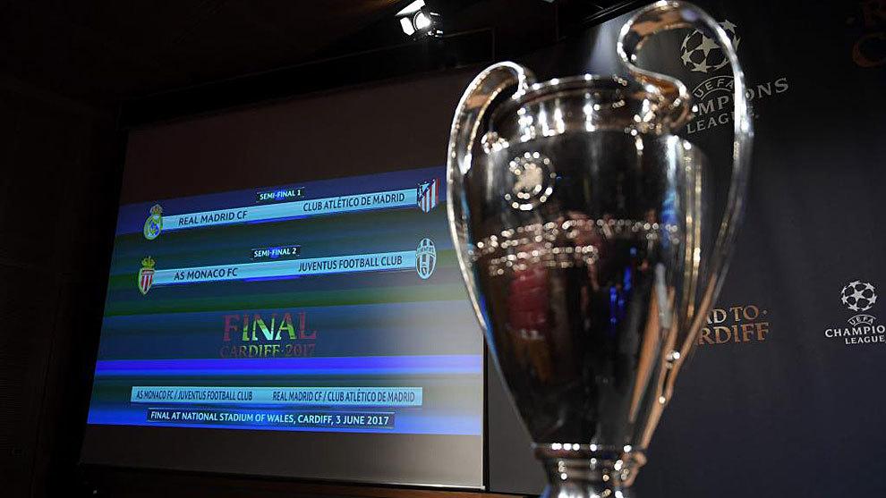 La Copa de Europa con el resultado del sorteo de semifinales al fondo