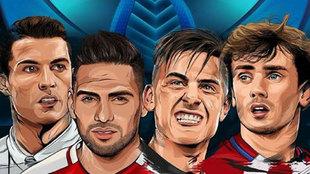 Caricaturia de Cristiano, Falcao, Dybala y Griezmann
