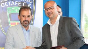 Ángel Torres, presidente del Getafe, durante el acto de inauguración...