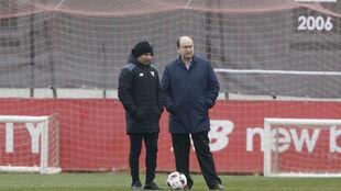 Sampaoli y Castro, en un encuentro en la Ciudad Deportiva.