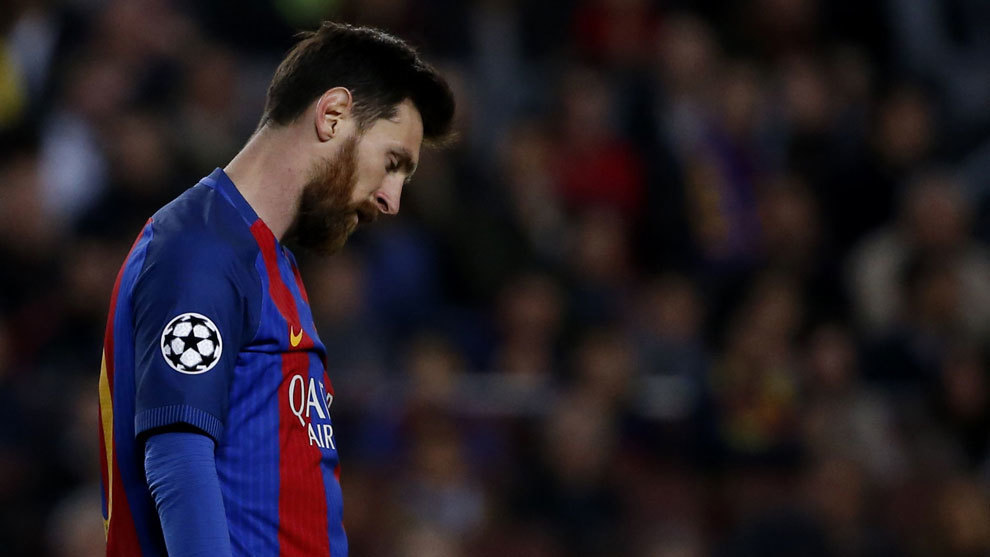 Messi durante la eliminación en la Champions frente a la Juve