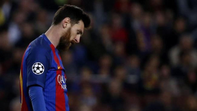 Messi durante la eliminaci�n en la Champions frente a la Juve