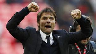 Conte celebra el triunfo en las semifinales de la FA Cup.