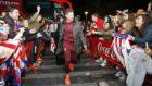 Aficionados del Atl�tico de Madrid apoyando a Simeone