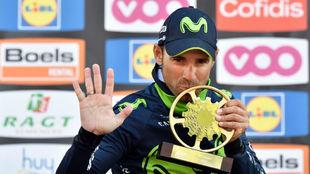 Alejandro Valverde celebra su triunfo en la Flecha Valona.