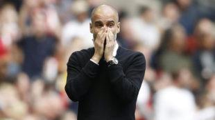 Guardiola, durante el choque ante el Arsenal.