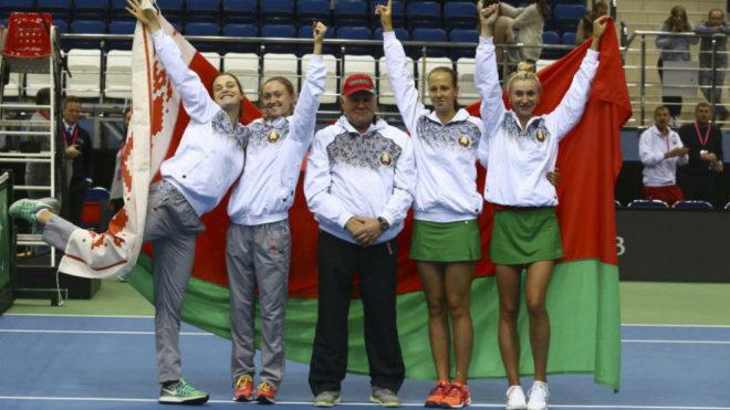 El equipo bielorruso celebra su clasificación.