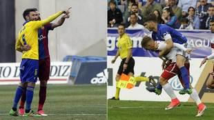 Dos imágenes de los duelos directos por el ascenso: Cádiz-Levante y...