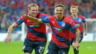 Frantisek Rajtoral, celebrando un gol con su selección.