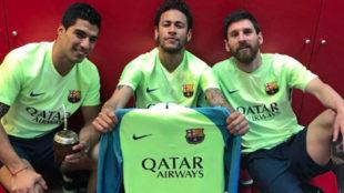 Luis Su�rez, Neymar y Messi celebrando el triunfo del Bar�a