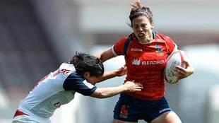 María Ribera, durante el partido ante Estados Unidos de la primera...