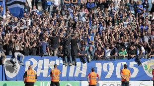 Aficionados del Bastia durante el encuentro contra el Lyon