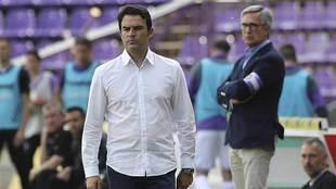 Alberto Toril, muy serio, durante el encuentro de Zorrilla del sábado
