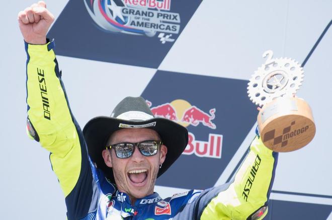 Rossi, en el podio del GP de las Américas.