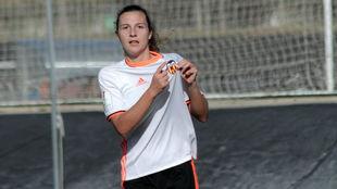 Marta Peiró celebra un gol esta temporada.