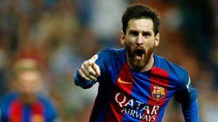 Leo Messi tras marcar al Real Madrid en el Camp Nou