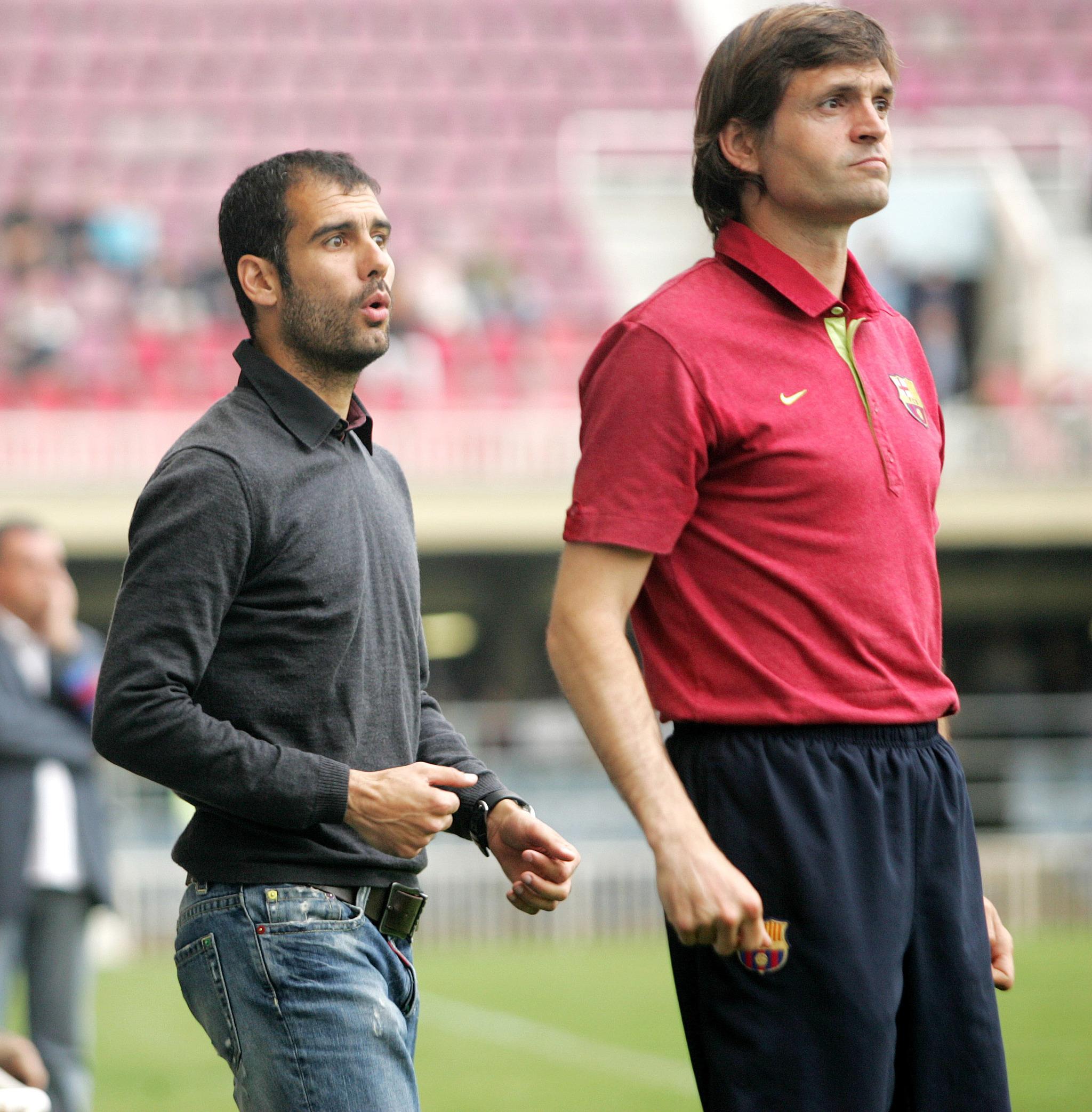 Pep Guardiola y Tito Vilanova entrenando al Barça B