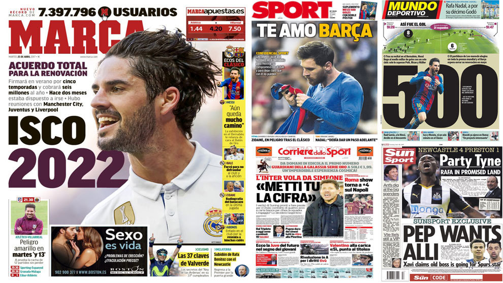 isco and simeone dominate tuesday s newspaper headlines