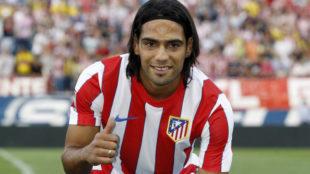 Radamel Falcao, en su presentaci�n como jugador del Atl�tico de...
