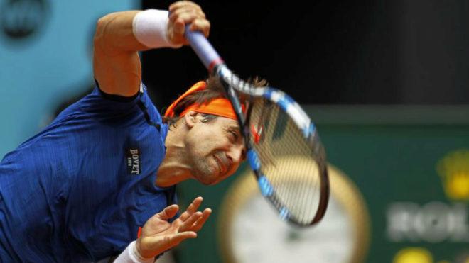 David Ferrer durante un partido en el Mutua Madrid Open del año...