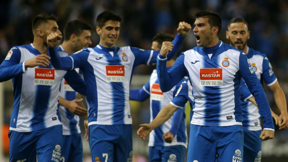 Los jugadores del Espanyol celebran un gol en un partido de este curso...