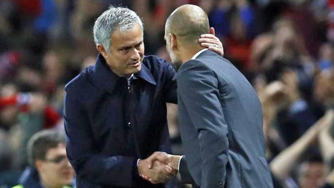 Guardiola y Mourinho se saludan antes de un partido