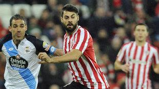 Villalibre, durante un encuentro disputado ante el Deportivo esta...