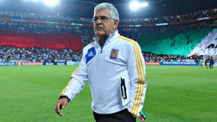 Ricardo Ferretti, esta noche en el estadio Hidalgo.