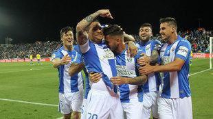 Los jugadores del Leganés celebrando un gol