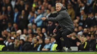Mourinho, durante el City-United.