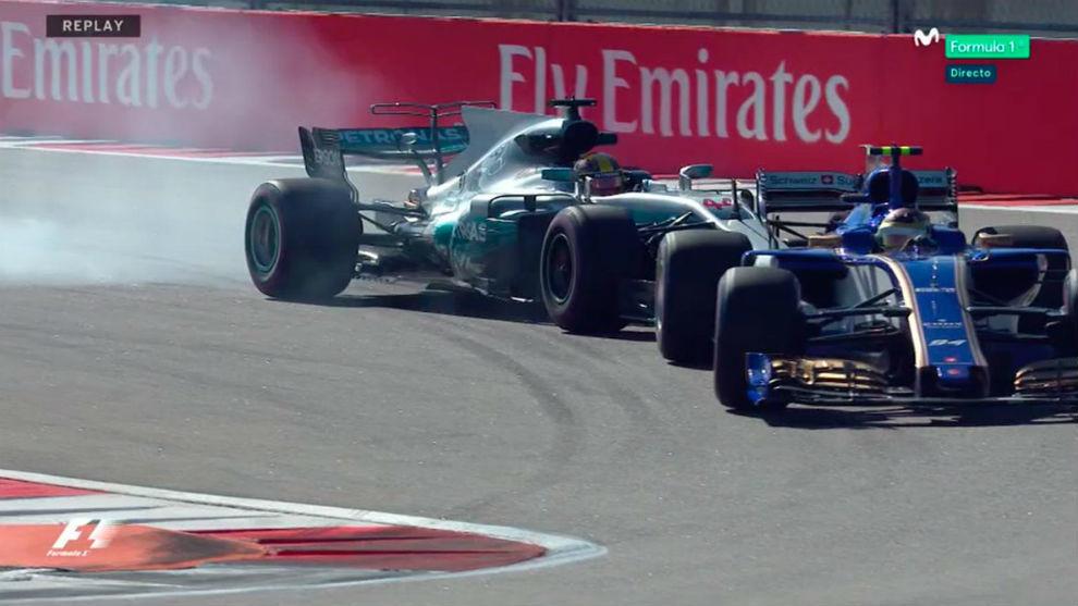 Hamilton tuvo que frenar bruscamente tras Wehrlein