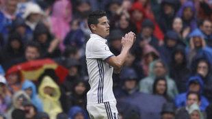 James, en el partido contra el Valencia.