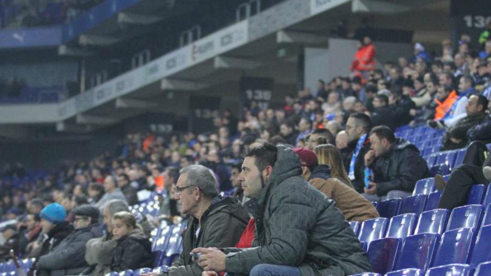 Aficionados del Espanyol durante un encuentro.