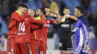 Jugadores del Getage celebrando un gol frente al Zaragoza