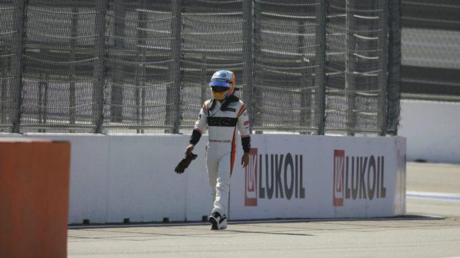 Alonso, tras abandonar el GP Rusia.