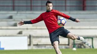 Javier Flaño, durante un entrenamiento esta semana