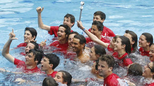 Nadal, en la piscina del RCT Barcelona