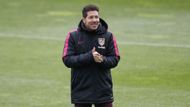 Simeone, durante un entrenamiento del Atlético.