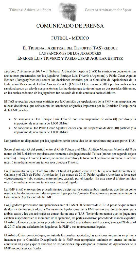Comuinicado oficial del TAS respecto a los casos de Agular y Triverio