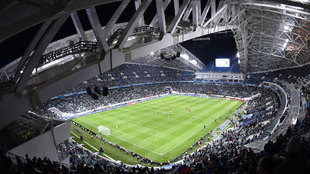 Partido en el Fisht Arena de Sochi entre Rusia y Bélgica