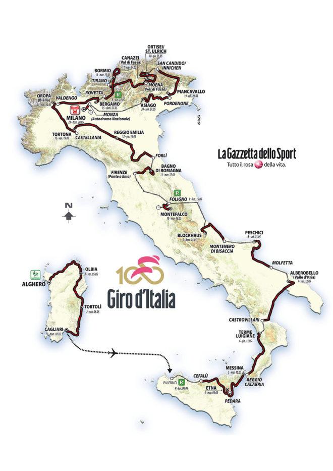 Recorrido del Giro de Italia 2017