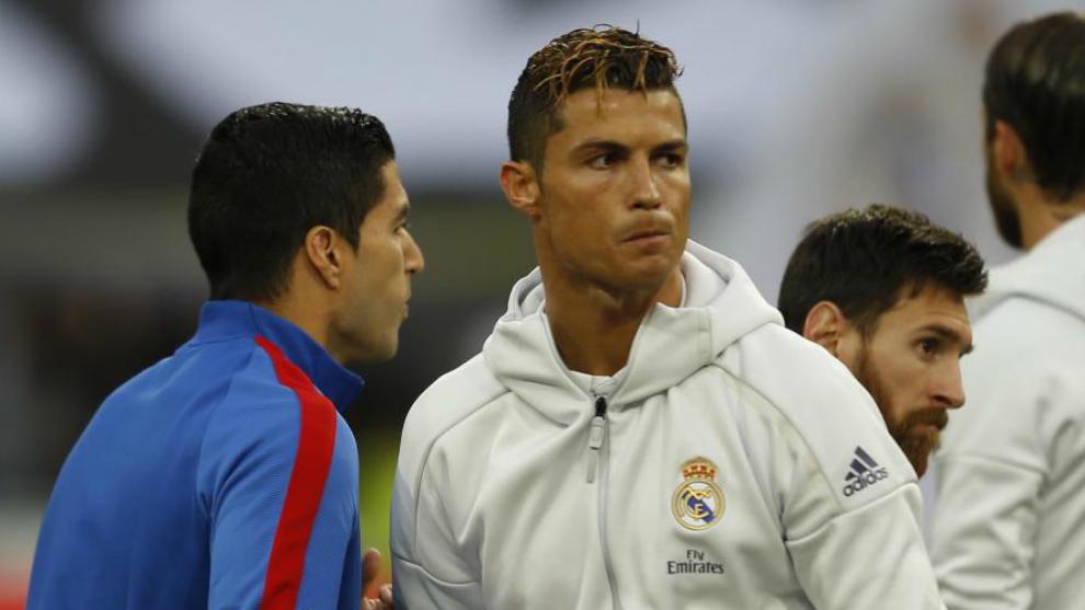 Suárez, Cristiano y Messi, en el último Clásico.