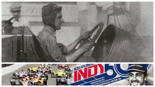 Ray Harroun con el primer espejo retrovisor aplicado a un automóvil...