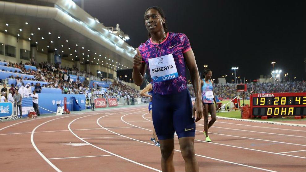 Semenya celebra su triunfo en Doha.