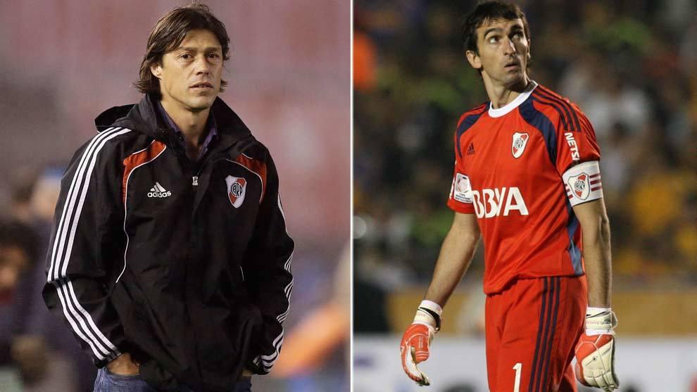 Matías Almeyda y Marcelo Barovero en su época en River Plate.