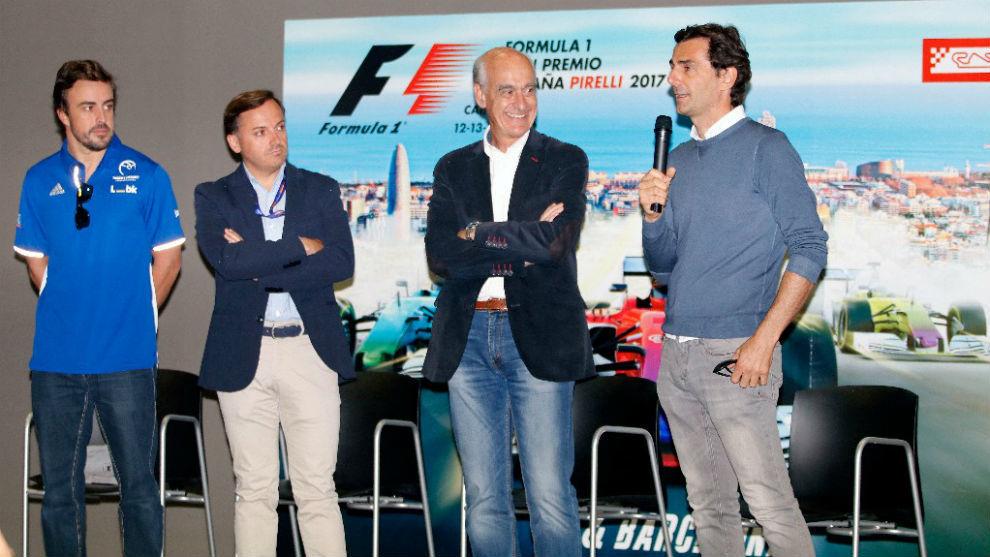 Fernando Alonso, Manuel Aviñó, Vicenç Aguilera y Pedro de la Rosa