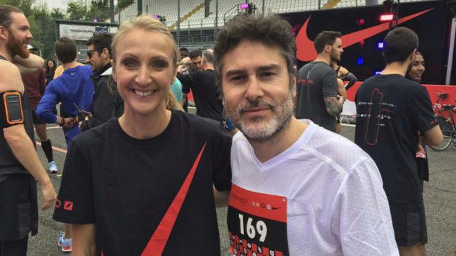 Paula Radcliffe y el redactor de MARCA.