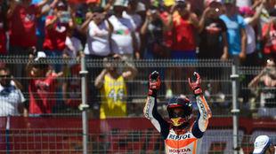Márquez, celebrando su podio