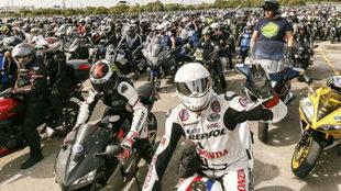 Caravana de moteros previa al GP de Jerez.